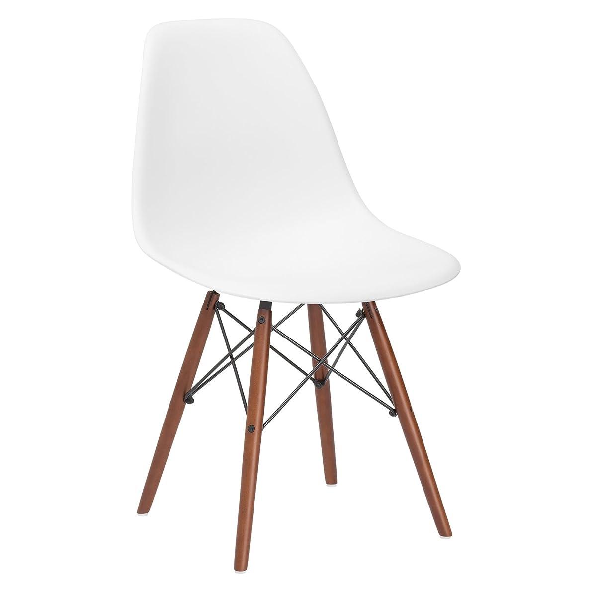 Poly and Bark Vortex Side Chair Walnut Legs, White