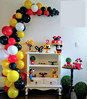100 Pack Red Black Yellow Balloon Garland & Arch Kit-100pcs Latex Balloons, 16 Feets Arch Balloon Strip Tape, Balloon Tying Tool for Mickey Mouse Party Minnie Mouse Baby Shower Birthday Party