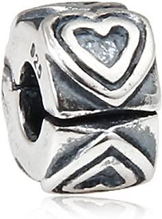 Choruslove 925 Sterling Silver Endless Love Heart Charm Clip Lock Stopper Beads for European 3mm Bracelet