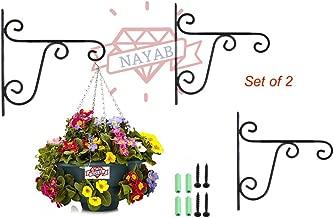 NAYAB (Set of 2) Hanging Planters Iron L Brackets Heavy Duty/Wall Planter Hook/Flower Pot Bird Feeder Wind Chime Lanterns Hanger