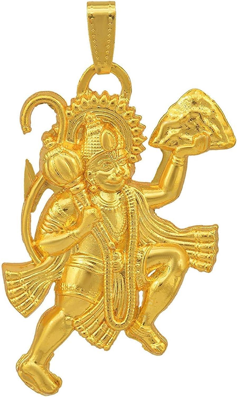 Hindu Gold Flying Bajrang Bali Hanuman Pendant For Men And Women