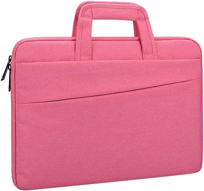 Laptop Frosted Multi-Layer Lightweight Sleeve Carry Hand Zipper Notebook Bag Pink 13.3 Inch