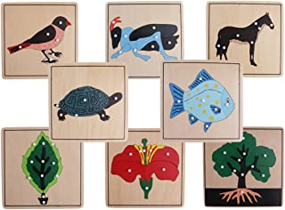 MagiDeal 8 Montessori Animal Plant Shape Knob Puzzles for Kids Preschool Learning Educational Toys