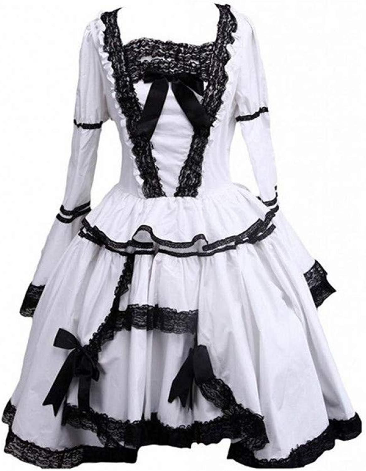 QAQBDBCKL Middle-Long Dress Womens Black And White Lace Trimmed Gothic A-Line Lolita Cosplay Dress For Casual Party Halloween