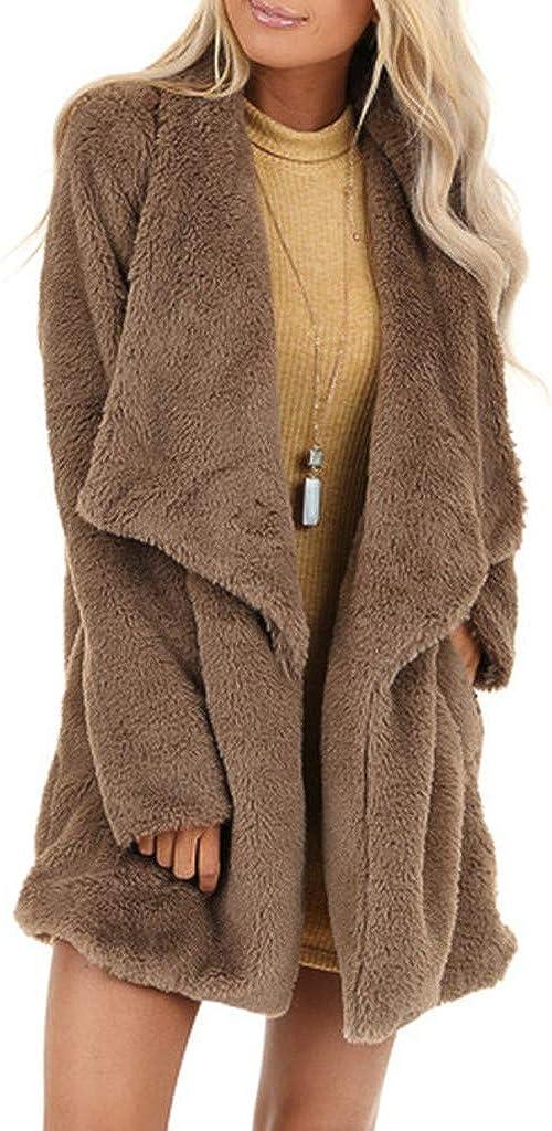 Winter Soft Faux Fur Jacket Women, NRUTUP Loose Sherpa Cardigan Lapel Collar Open Front Teddy Bear Jacket Fuzzy Overcoat
