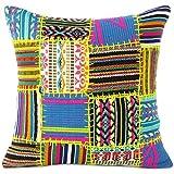 EYES OF INDIA - 16 'Negro dhurrie sofá amarillo mosaico cojín del sofá de la cubierta coloridos cojines decorativos tiran Boho Bohemia india cubren sólo