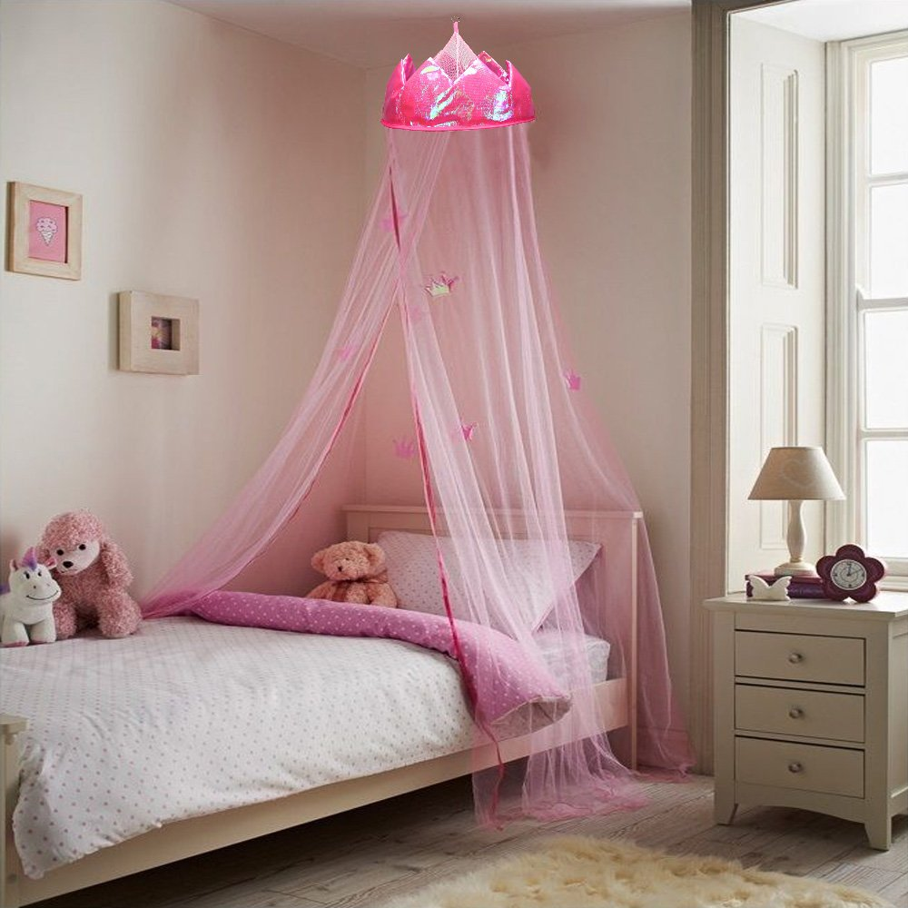 - MultiWare Crown Mosquito Net Princess Bed Canopy Girls Bedroom