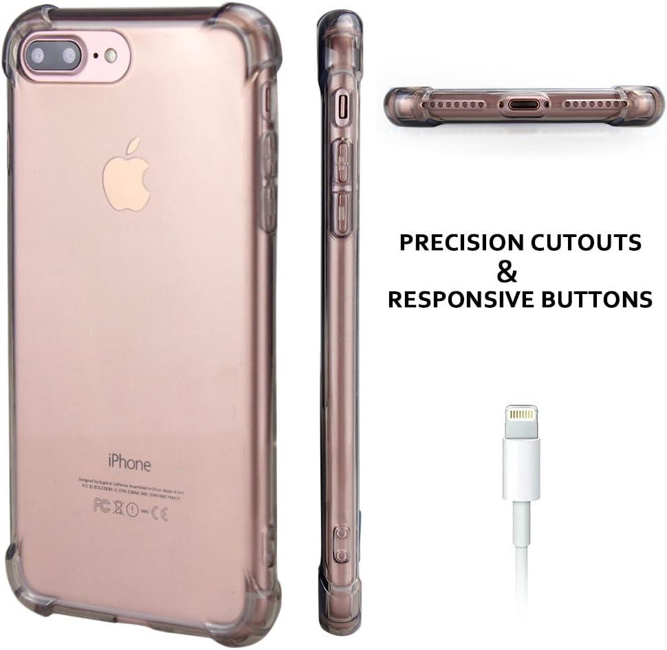Matone for iPhone 7 Plus Case, for iPhone 8 Plus Case, Crystal Clear Shock Absorption Technology Bumper Soft TPU Cover Case for iPhone 7 Plus (2016)/iPhone 8 Plus (2017) - Light Grey