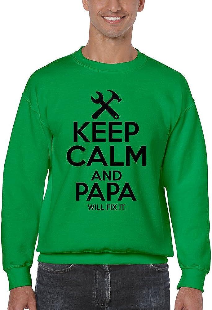 Allntrends Men's Sweatshirt Keep Calm And Papa Will Fix It Papa Gift Idea Top