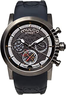 Mulco Street London Men's Watch - Premium Analog Display with Dual Time- 100% Silicone Band - Multifunctional Movement - Water Resistant - All Stainless Steel - MW3-15097