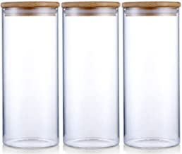 Glass Storage Jar Airtight Food Storage Canisters Set of 3 Glass Coffee Jar Kitchen Food Storage Container with Bamboo Lid for Serving Tea, Coffee, Spice and More (900ML)
