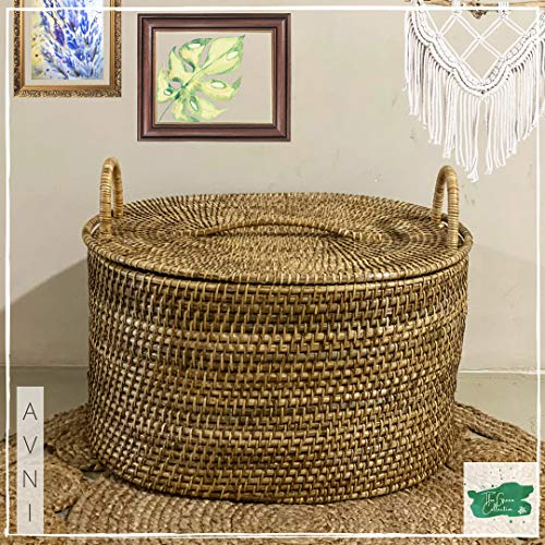 The Green Collective - AVNI Storage Basket || Handwoven Large Basket with Lid