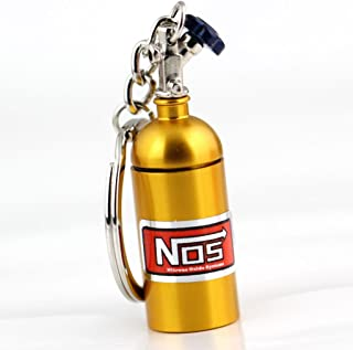 Maycom Creative NOS Mini Nitrous Oxide Bottle Keyring Key Chain Ring Keyfob Stash Pill Box Storage Turbo Keychain (Gold)
