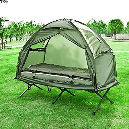 Haotian Compact Collapsible Portable Camping Cot, Air Mattress, Pop-Up Tent.
