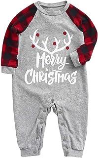 kolila Family Pyjamas Matching Christmas Pjs Baby Pajamas Sets Elk Plaid Print Tee and Pants Loungewear Sleepwear Set
