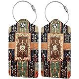 set di 2 etichette per bagagli curdi persiani da giardino, in pelle, per valigie e valigie