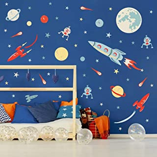 BUCKOO Outer Space Rocket Wall Sticker, Super Space Explorer Kids Room Wall Decal, Planet Star Moon Sticker for Nursery