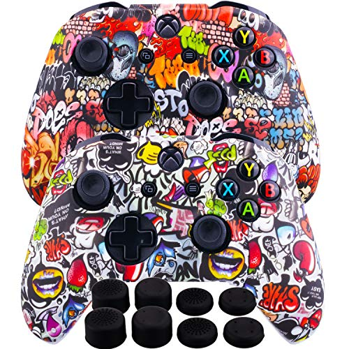 MXRC Silicone Rubber Cover Skin Case Anti-Slip Water Transfer Customize Camouflage for Xbox One/S/X Controller x 2(Street Art Pack) + FPS PRO Extra Height Thumb Grips x 8