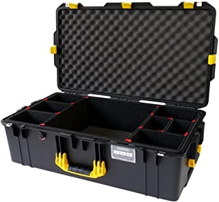 Black w/ Yellow handles & latches Pelican 1615 case. With TrekPak Dividers. With Wheels.