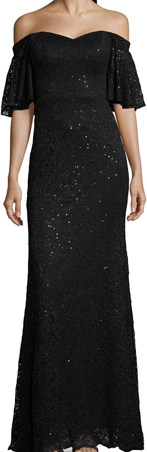 BETSY & ADAM Women's Sequined Lace Off-the-shoulder Ball Gown Dress