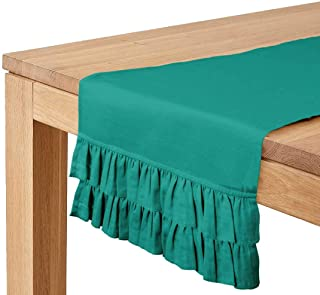 Vargottam Green Home Décor Stylish Wedding Party Holiday Table Setting Décor Solid Double Frill Table Runner-14 x 72 Inch