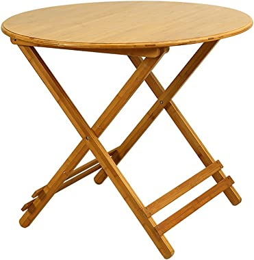 Folding Dining Table for Small Spaces Bamboo Round Table Fold in Half Garden Coffee Table Study Desk for Kids Easy to Store (