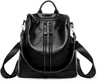 Women Genuine Leather Black Backpack Casual Shoulder Bag Medium