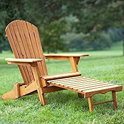 FDW Outdoor Wood Adirondack Chair Foldable w/Pull Out Ottoman