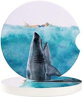 Saugstarke Auto Untersetzer für Getränkehalter, Ozeanjäger Haie und Schwimmende Frauen Gefahrenszene, 4 Stück Keramik Kaffee Untersetzer   perfektes Autozubehör mit lebendigen Farben