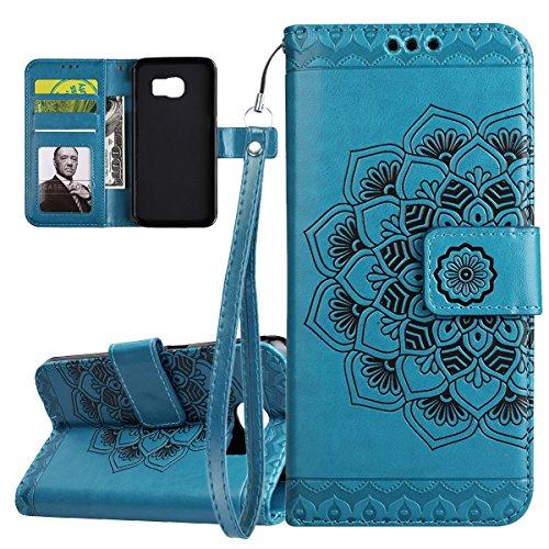 ISAKEN Compatibile con Samsung Galaxy S6 Edge Custodia Cover, Libro PU Pelle Wallet Cover Flip Portafoglio Protezione Custodia con Supporto di Stand/Carte Slot/Strap[Shock-Absorption], Fiori: Blu