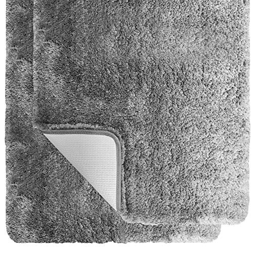 Gorilla Grip Premium Luxury Bath Rug, Set of 2, Soft Thick Extra Absorbent Bathroom Rugs, Machine Wash and Quick Dry Carpet Mats, Plush Bath Room Floor Mat for Shower and Tub Floors, 17x24, Gray