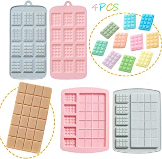 4 Pcs Silicone Chocolate Moulds, Non-Stick Break-Apart Protein and Energy Bar, Non-Stick Chocolate Molds, Ice Cube Tray Ca...
