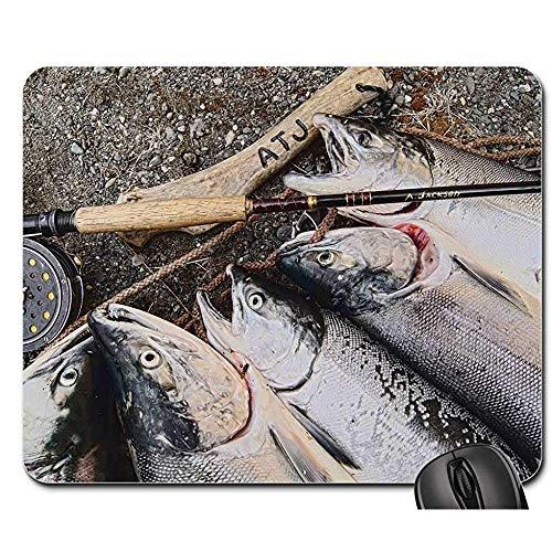 Pad Maus Unterlage,Anti Rutsch Gaming Mausepad,Gummiunterseite Mausmatte,Lachs Alaska Fischerei Fisch Alaska Fliegenfischen Büro Computer Pad,Glatte Mousemat,30X25Cm