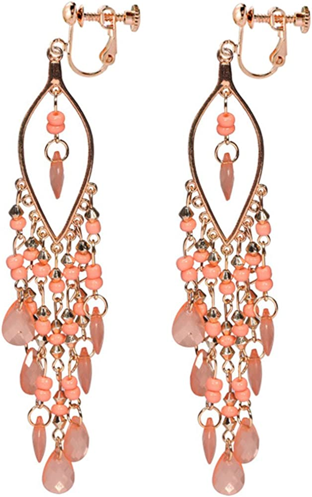 Clip On Earrings Leaf Style Earrings Dangle Delicate Rose Gold Plated Cocktail Casual Gift