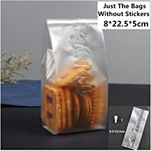 50pcs Christmas Candy Cookie Gift Bag Self Stand Holders Bake Biscuit Hand Made Diy Jewelry Plastic Packaging Bags,Frosted 8.5x22.5cm