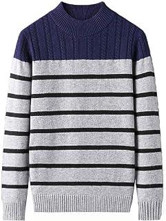 HEFASDM Men's Relaxed Striped Knitting O-Neck Knitwear Blouse T-shirt Tops