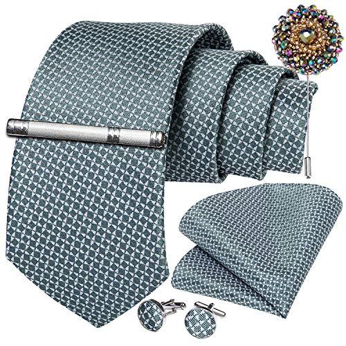 DiBanGu Herren Krawatten-Set, Krawatte, Tasche, Manschettenknöpfe, Krawattenklammer und Anstecknadel, 5-teilig Gr. Einheitsgröße, Grün 7152