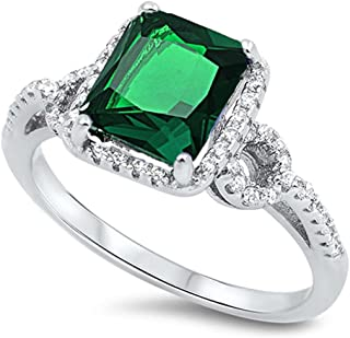 Oxford Diamond Co Sterling Silver Emerald Cut Simulated Emerald & Cubic Zirconia Ring Sizes 5-10