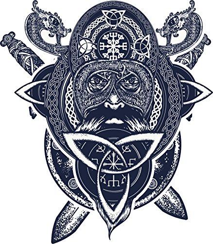 Mustache Asian Samurai Warrior with Dragon Celtic Knot Frame Art Vinyl Sticker (4' Tall)
