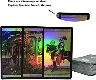 Holographic Tarot Deck for Tarot Reader-78 Cards in Box Tarot Board Game Multilingual Versions English/Spanish/French/German Great Game for Family Friends Travel