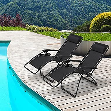 Ollieroo 2-Pack Black Zero Gravity Lounge Chair with Pillow and Utility Tray Adjustable Folding Recliner Outdoor Patio Chair