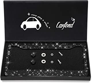 Carfond 7 Row Handcrafted 1000Pcs Finest 14 Facets SS20 Premium Crystal Diamond Stainless Steel License Plate Frame Bonus Matching Screws Caps (Black crystal)