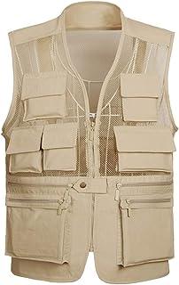 Men's vest Outdoor vest Men's Thin vest mesh vest vest Multi-Pocket vest (Color : Khaki, Size : XL)