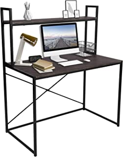 GreenForest Computer Desk with Shelf, 2-Tier Space Saving Home Office Desk Workstation, Walnut