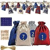 24 bolsas de yute calendario de adviento,calendario de adviento para llenar,bolsas de regalo de...