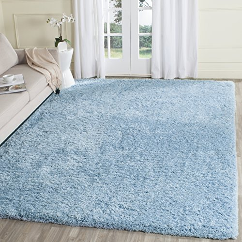 Safavieh Supreme Shag Collection SGS621D Handmade Solid 1.5-inch Thick Area Rug, 8' x 10', Light Blue