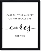 Andaz Press Unframed Black White Wall Art Decor Poster Print, Bible Verses, 1 Peter 5:7: Cast All Your Anxiety on him Because he Cares for You, 1-Pack