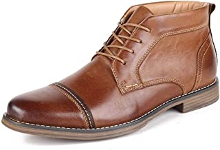 CAIFENG Bottines for Hommes Bottines Chukka Casual Lace Up Toe Bruni Style Pointu en Cuir véritable Point Bois comme Semel...