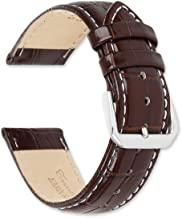 deBeer Brand Crocodile Grain Watch Band (Silver & Gold Buckle) - (White Stitching) Brown 22mm