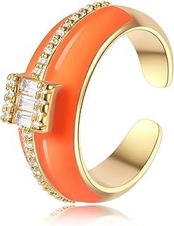 خاتم وجه مبتسم، خاتم مطلي بالذهب ملون مقاس 5 ~ 6 خاتم مكتنزة كهدية للنساء والرجال والفتيات